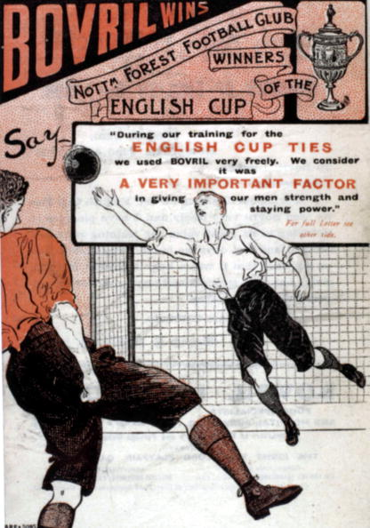 Sport. Football. 1898. An advertising leaflet produced by Bovril Ltd of London, featuring references to Nottingham Forest's success in the English FA Cup Final over Derby County by three goals to one at Crystal Palace, with goals from McPherson and Capes